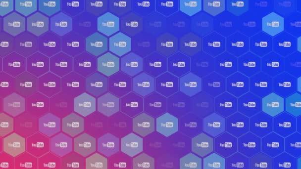 Bewegungs-Icons des sozialen Netzwerks YouTube auf einfachem Hintergrund