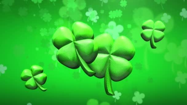 Animation motion small green shamrocks on Saint Patrick Day shiny background