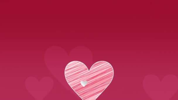 Animované detailní romantické červené velké a malé srdce na červeném Valentýna pozadí.