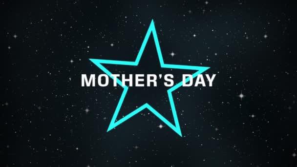 Animáció szöveg Anyák napja divat és klub háttér neon kék csillag galaxisban