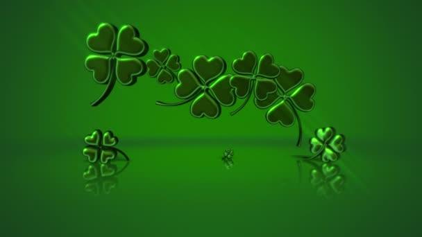 Animace pohyb malé zelené shamrocks na Saint Patrick Day lesklé pozadí