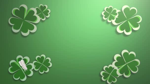 Animation motion small green shamrocks on Saint Patrick Day pattern background.