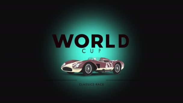 Motion retro autó és szöveg World Cup, sport háttér
