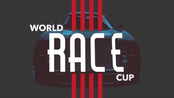 Motion geometrikus piros vonalak sport autó és a World Race Cup szöveg, retro sport háttér