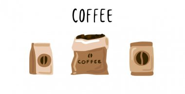 Hand drawn coffee set icon