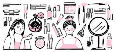 Hand drawn Cosmetic tools. Cosmetology background. Isolated beauty products. Facial cosmetics. Makeup. Lipstick. Eye lash. Mascara. Brush. Glamour vector illustration. Design make up pack. Toiletry. icon
