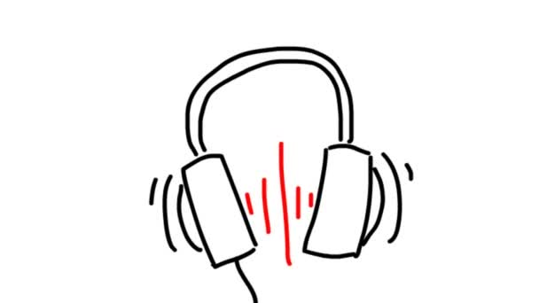 Photo Headphone icon. Hand drawn earphones with red sound wave beats.