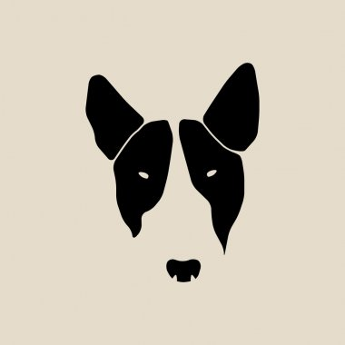 Bull terrier face. Dog head.
