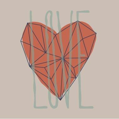Outline heart. Polygon heart shape.