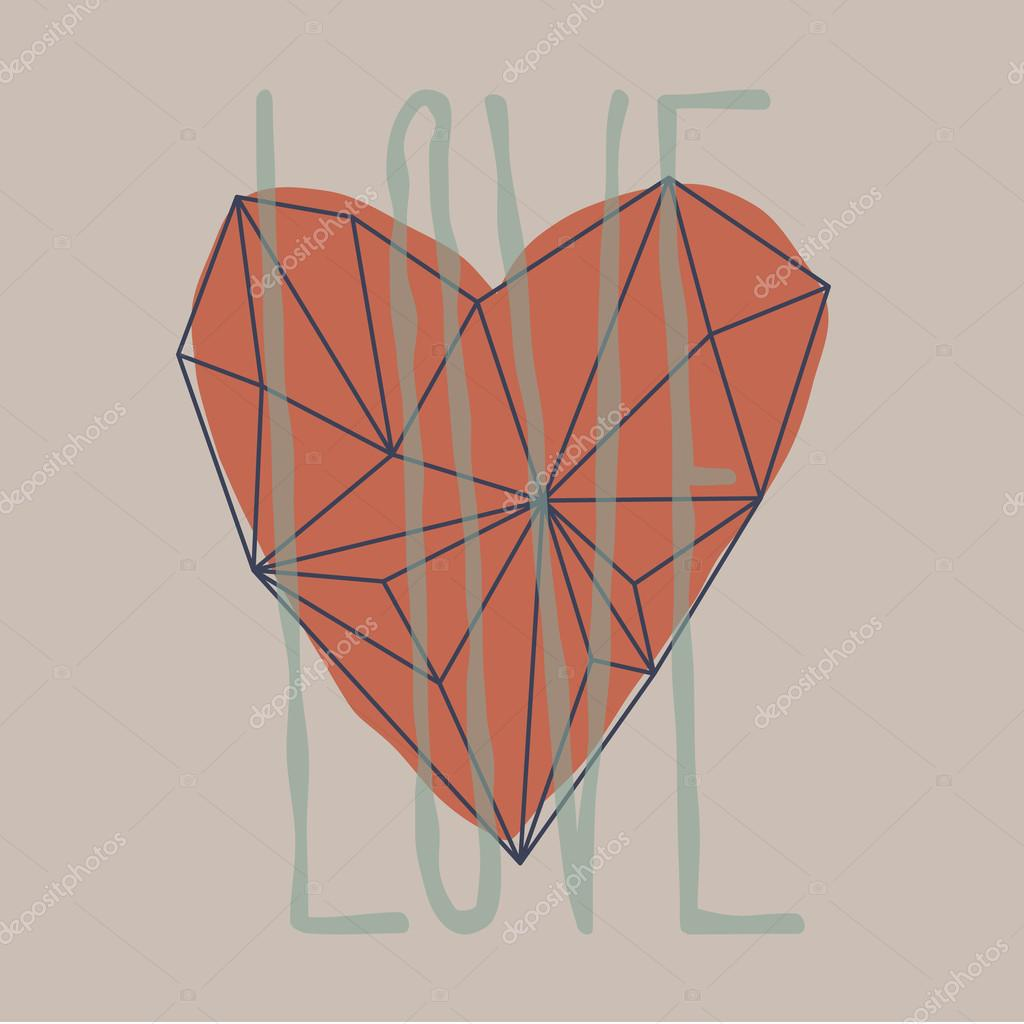 Outline heart. Polygon heart shape.