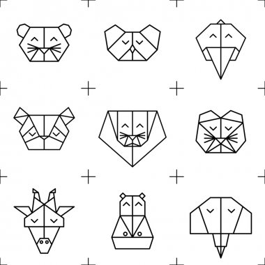 Pattern origami jungle animals 1