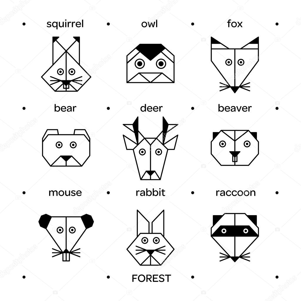 Vector Origami Animals Geometric Line Design Icon Set For Tattoo Or Coloring Book Forest Collection