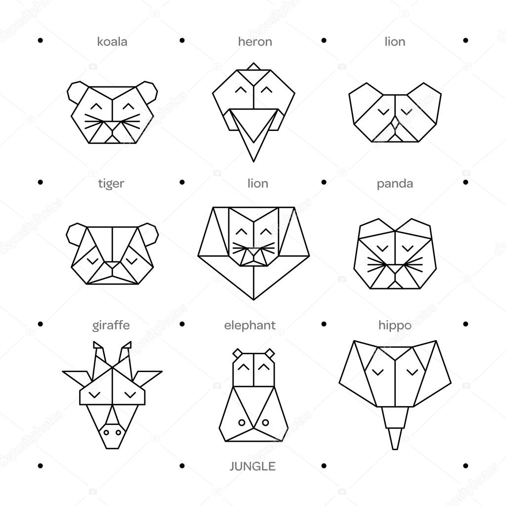 Origami Vector Animals Set Animal Triangle Heads Geometric Line Design Icon For Tattoo Or Coloring