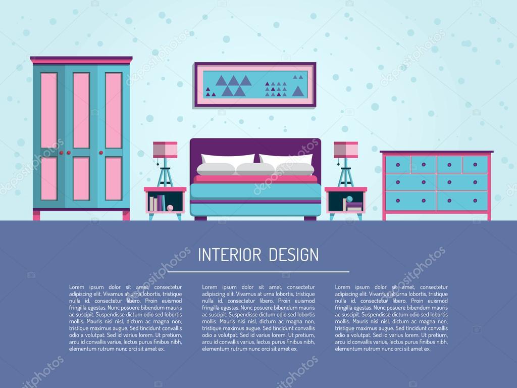the interior of bedroom — Stock Vector © shopplaywood #123645222