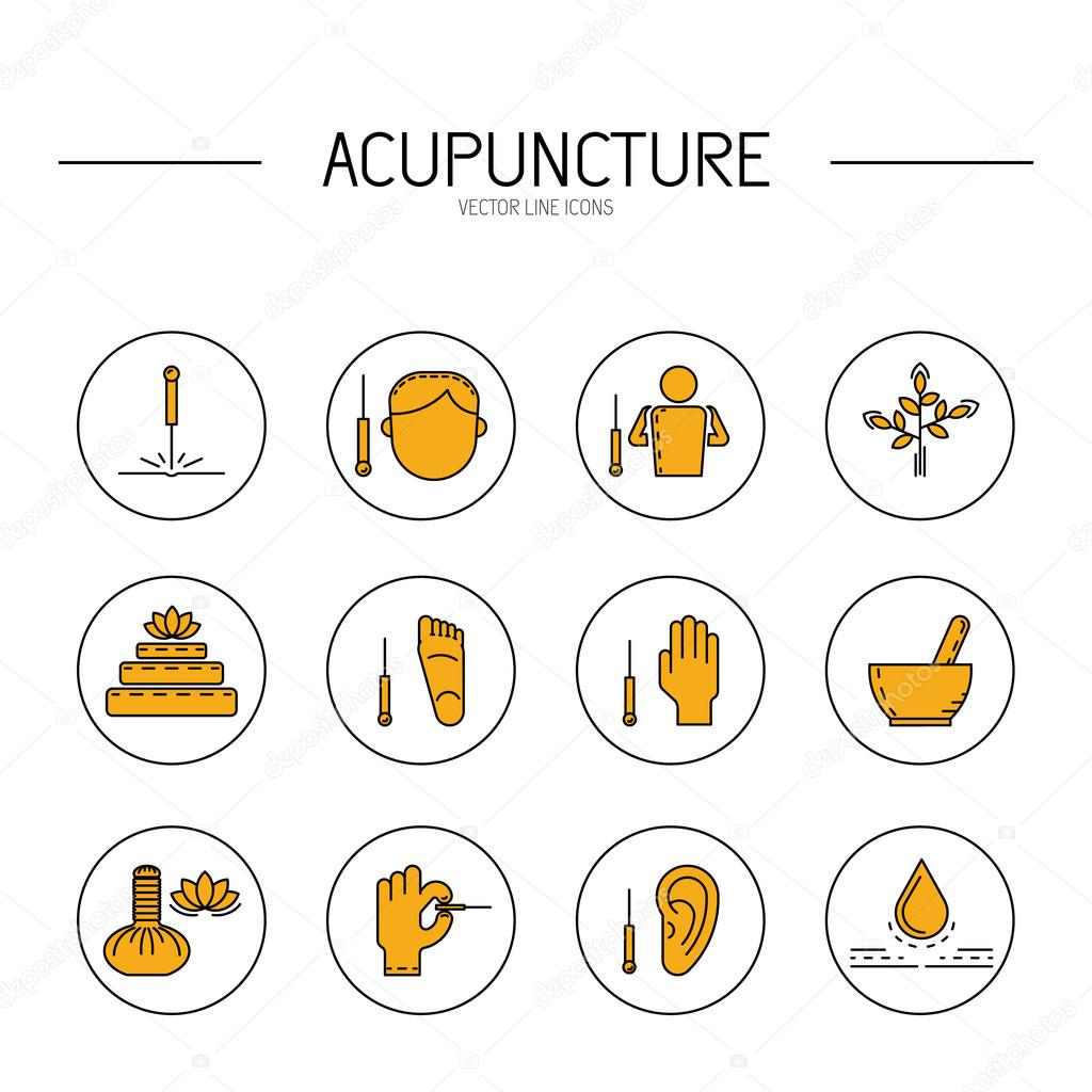 collection of vector icons elements for acupuncture and