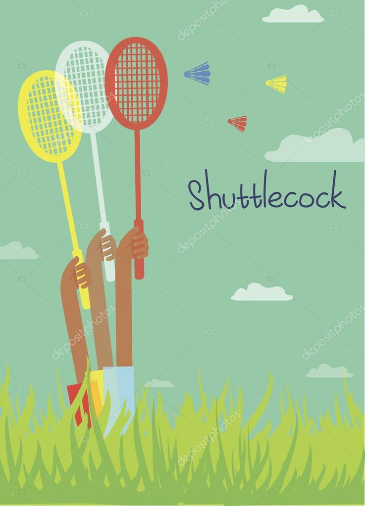 card with summer mood, playing badminton