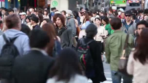 TOKYO, JAPAN - CIRCA 2013: Large crowds of pedestrians, commuters, and shoppers