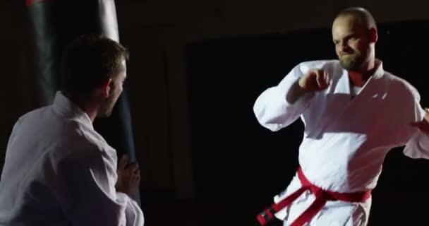 Mladý sportovec v kimonu kopy pytel