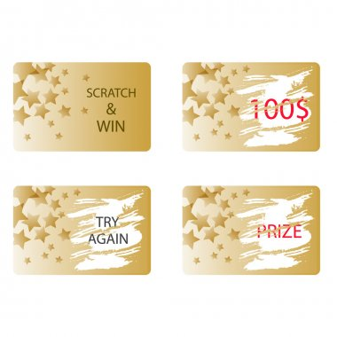 Scratch and win a prize card vector.