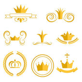 Photo Gold crown logos and badges clip art vector set.