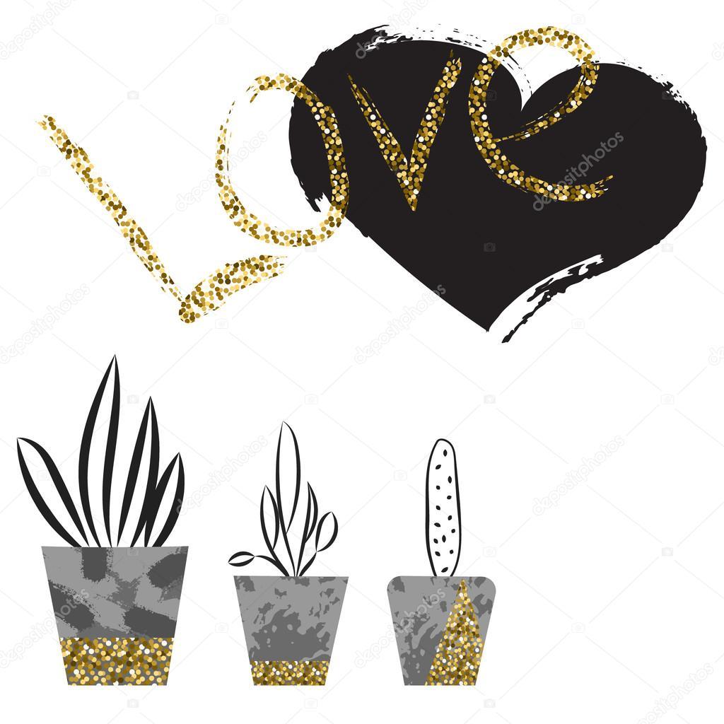 Flowers in concrete pots. Love card template.