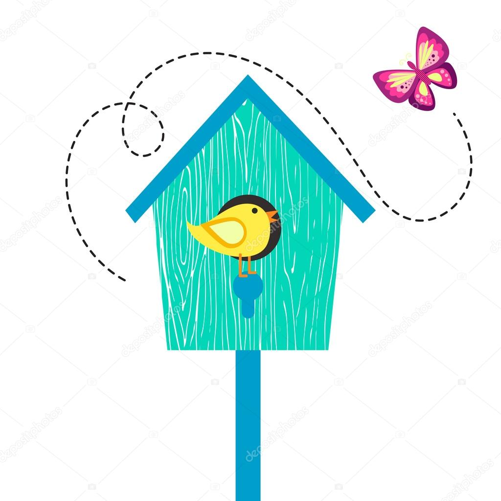 casa de pássaro azul dos desenhos animados com passarinho no poleiro
