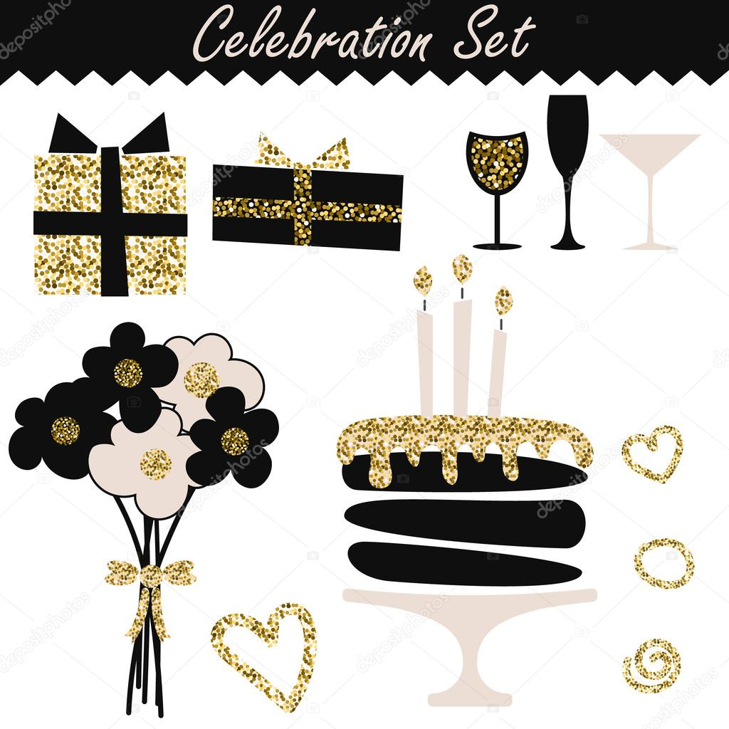 Cool Black And Gold Birthday Cake Celebration Black And Gold Fashion Funny Birthday Cards Online Overcheapnameinfo
