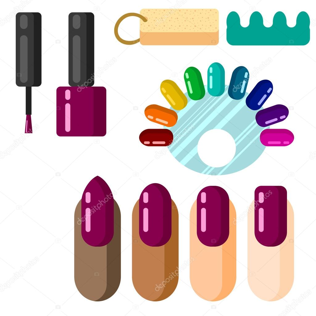 Manicure set with nail polish swatches. — Stock Vector © inides ...