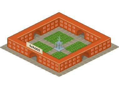 School building in pixel art style