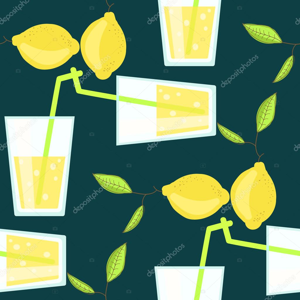 Lemonade cocktail seamless vector pattern with lemons
