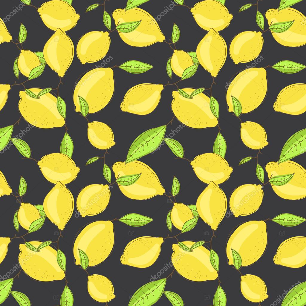 Green lemon fruits with leaf on branch dark black background. Citrus seamless vector pattern.