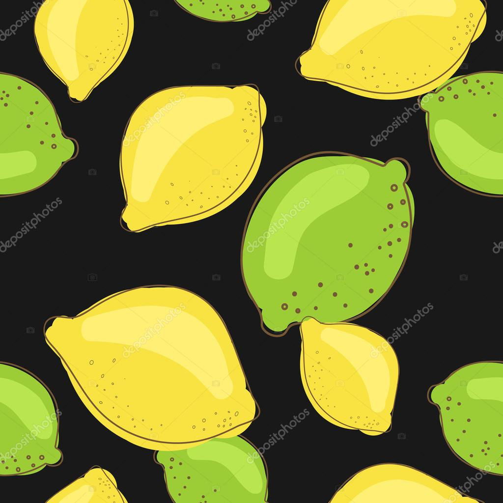 Green lime and lemon fruits on dark black background. Citrus seamless vector pattern.