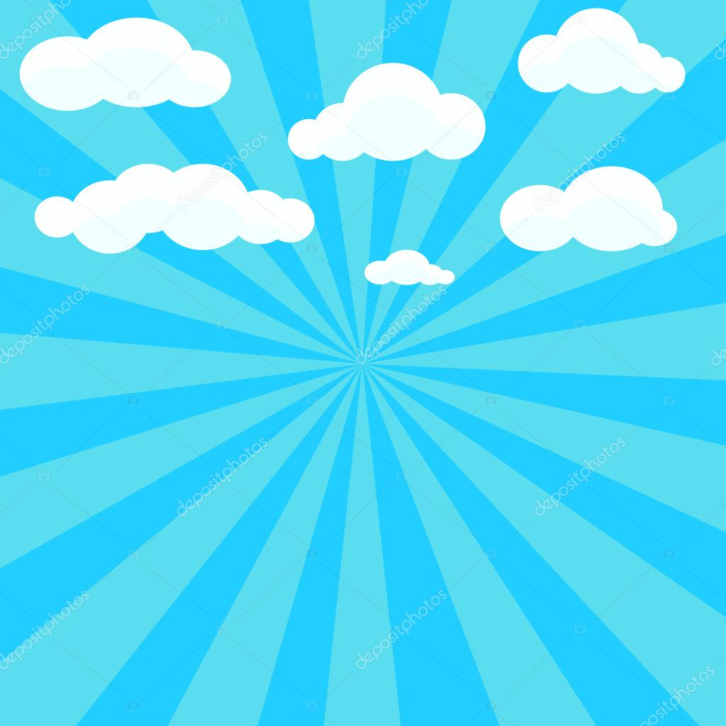 Clouds And Blue Sky With Sunburst On Background Stock Vector