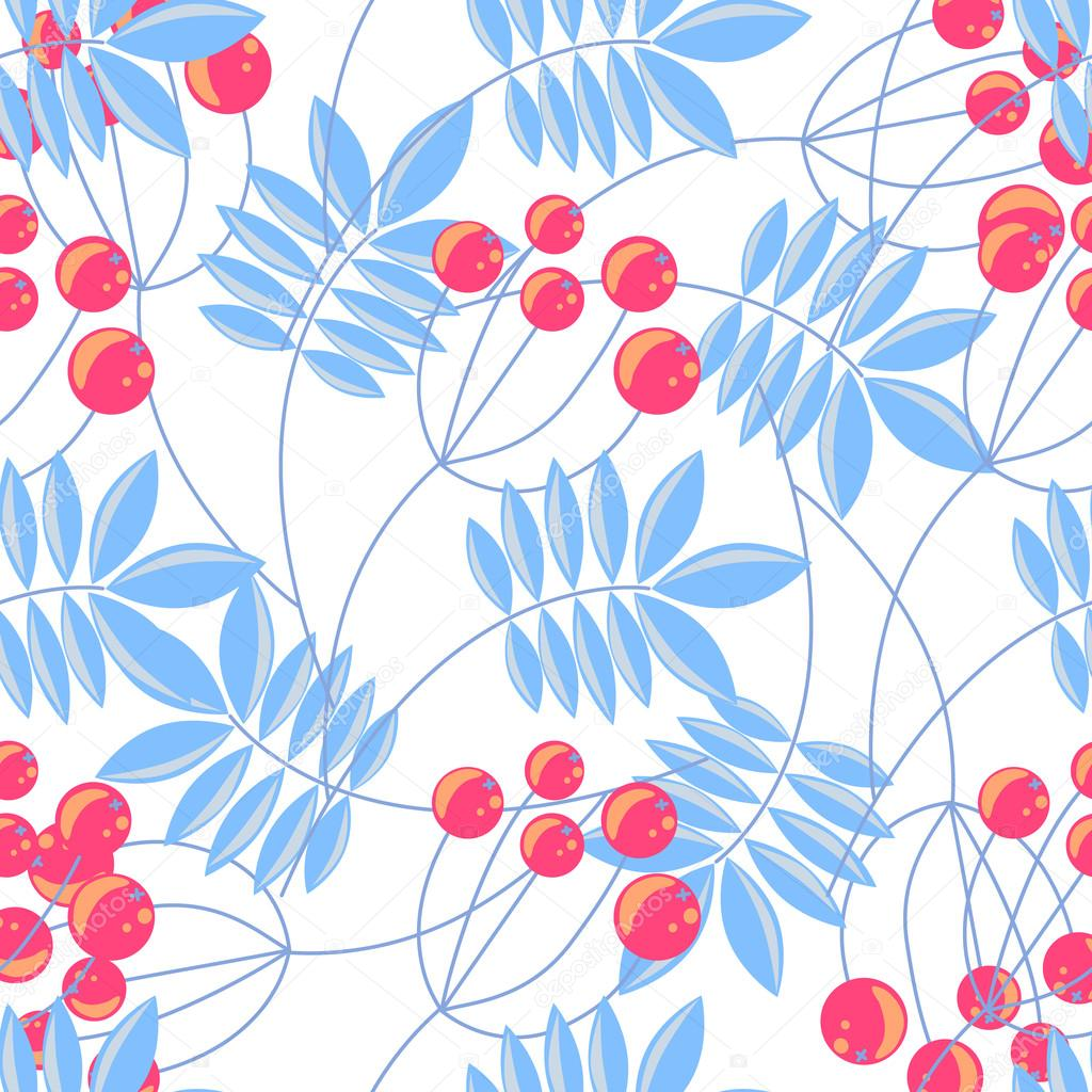Rowanberry branch seamless pattern. Vector background