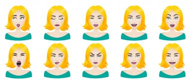 Emotions female face set.