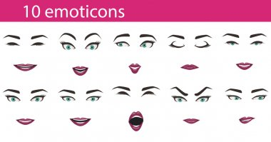 Emoticons face expressions set
