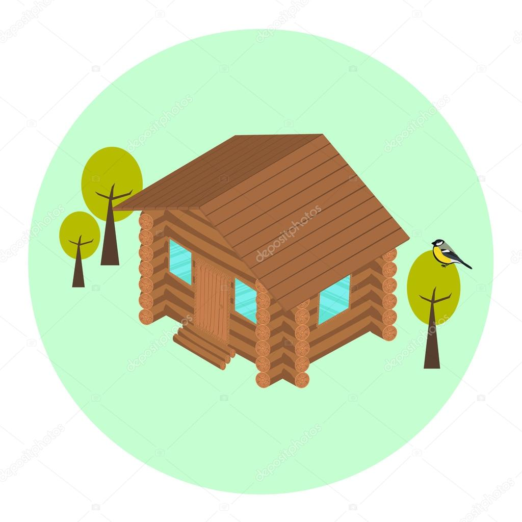 Wood log isometric house icon