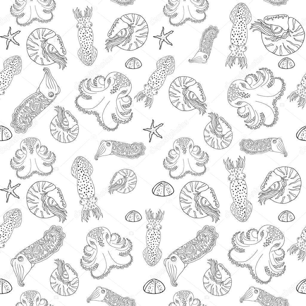 Mano dibujada cefalópodos de patrones sin fisuras — Vector de stock ...