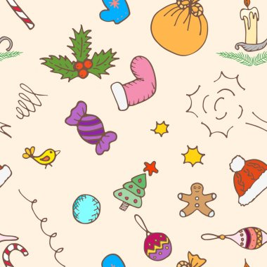 Christmas pattern background. Seamless vector paper.