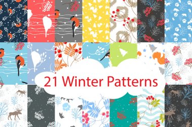 Winter seamless pattern bundle set.