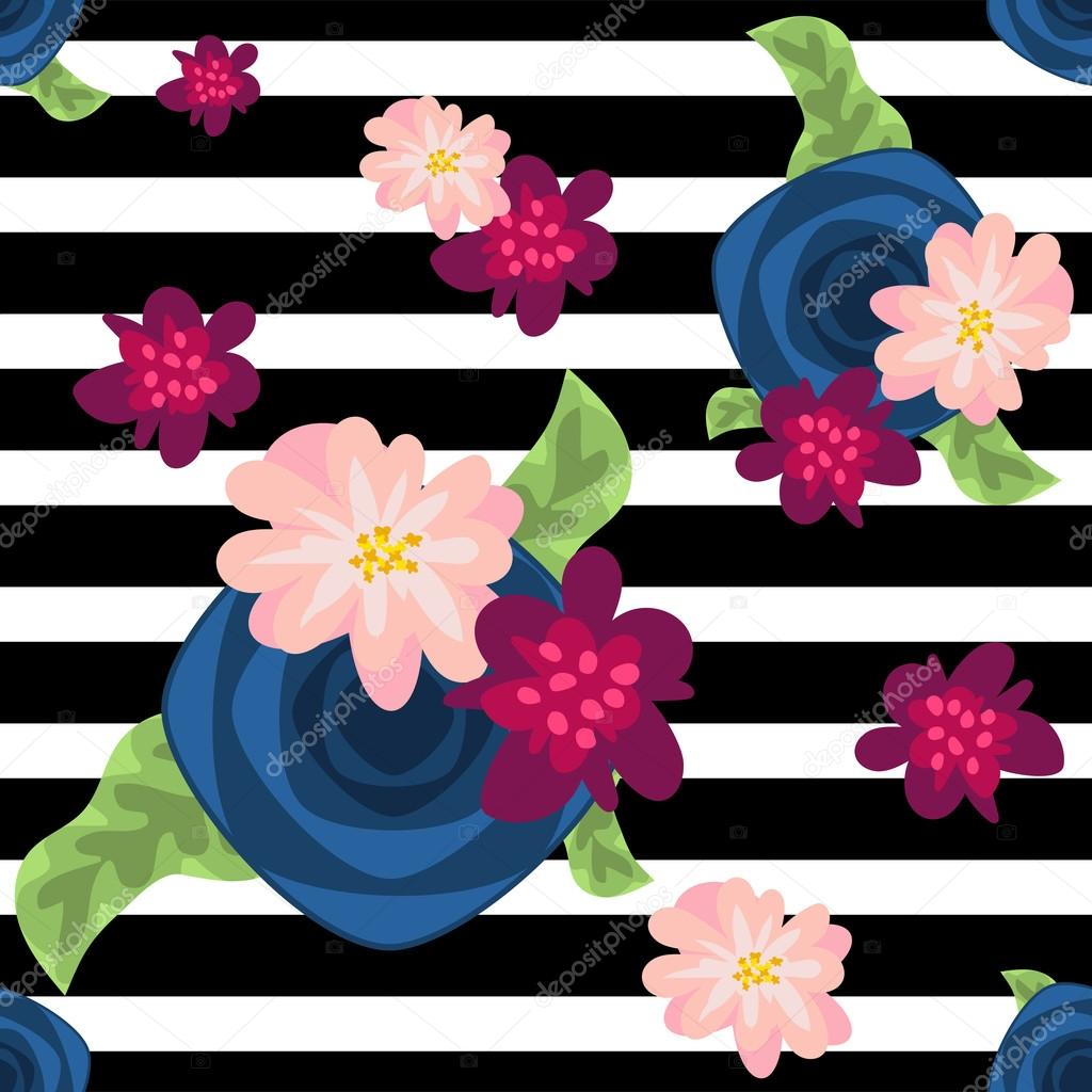 Flower pattern on striped black and white background.
