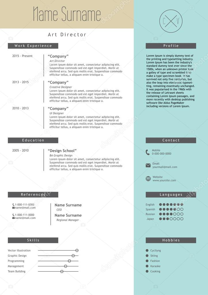 vector creative resume template minimalistic blue and beige style cv light infographic elements business job document vector by inides - Elements Of A Resume