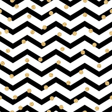 Chevron zigzag black and white seamless pattern with golden shimmer polka dots.