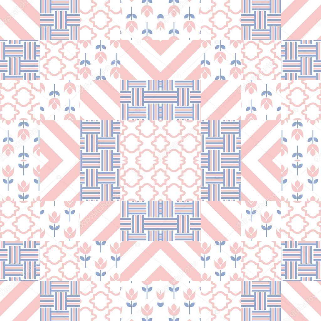 Patchwork colcha vector patrón azulejos — Vector de stock © inides ...