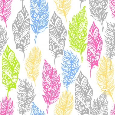 Hand drawn vector zentangle doodle neon colors feathers seamless pattern on white.