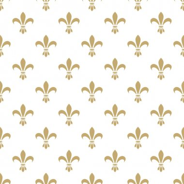 Fleur de lis seamless vector pattern. French vintage stylized lily flower luxury royal symbol. Monarchy gold on white iris sign clip art vector