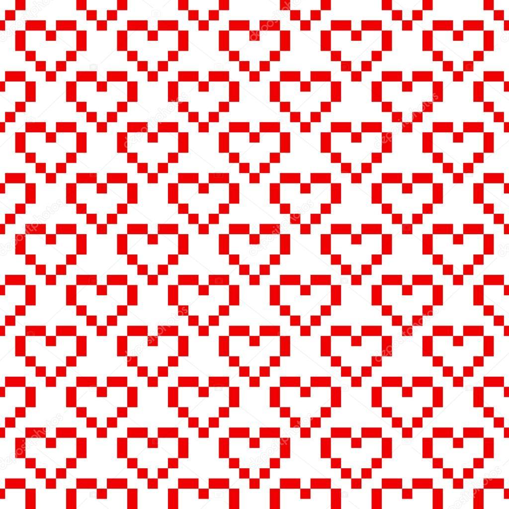 Modèle Sans Couture De Pixel Art Cœur Image Vectorielle
