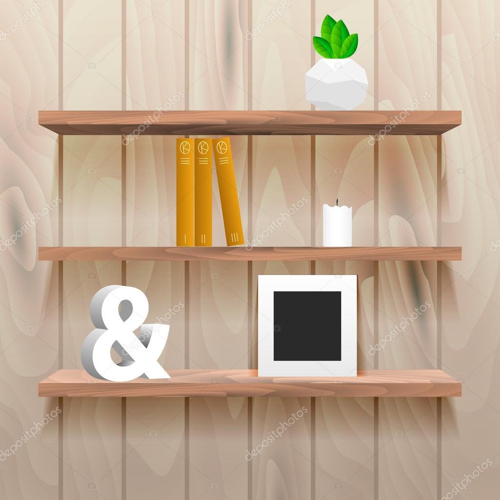 boekenplanken in kamer interieur met decor stockvector