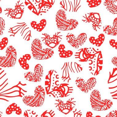 Ink zentangle heart seamless pattern.