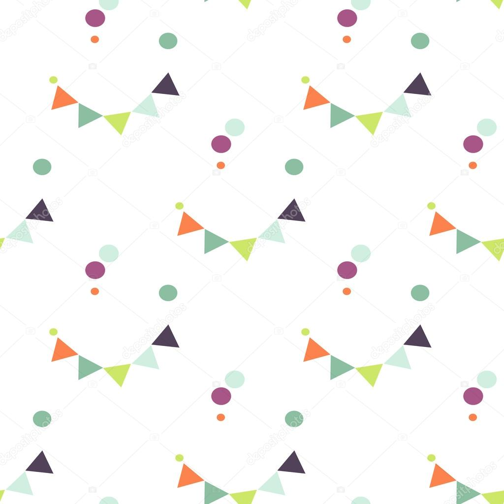 Bunting flag and confetti pattern.
